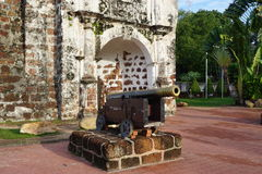Ruins of the Kota A Famosa Portuguese Fortress in Malacca Royalty Free Stock Photography