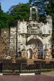 Ruins of the Kota A Famosa Portuguese Fortress in Malacca Stock Images