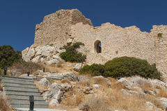 Ruins of the Kritinia medieval castle on Rhodes island Stock Images