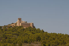 Ruins of the Kritinia medieval castle on Rhodes island Stock Photos
