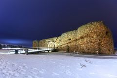 Ruins of Kronoberg Castle near Vaxjo. At night, Sweden Royalty Free Stock Image