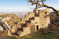 Ruins of Kumbhalgarth fort in Rajasthan India. Kumbhalgarth Fort, Rajasthan, India, Landscape of one of the dilapidated towers of the 15th century built fort Royalty Free Stock Image