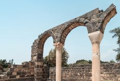 Ruins of Kursi - a large Byzantine 8th-century monastery in which Jesus Christ performed miracles on the shores of Lake Tiberias,. On the Golan Heights Royalty Free Stock Photography
