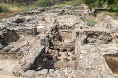 Ruins of Kursi - a large Byzantine 8th-century monastery in which Jesus Christ performed miracles on the shores of Lake Tiberias,. On the Golan Heights Royalty Free Stock Image
