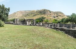 Ruins of Kursi - a large Byzantine 8th-century monastery in which Jesus Christ performed miracles on the shores of Lake Tiberias,. On the Golan Heights Stock Photos