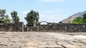 Ruins of Kursi - a large Byzantine 8th-century monastery in which Jesus Christ performed miracles on the shores of Lake Tiberias,. On the Golan Heights Royalty Free Stock Photos
