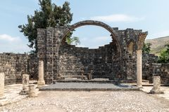 Ruins of Kursi - a large Byzantine 8th-century monastery in which Jesus Christ performed miracles on the shores of Lake Tiberias,. On the Golan Heights Royalty Free Stock Photo