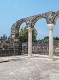 Ruins of Kursi - a large Byzantine 8th-century monastery in which Jesus Christ performed miracles on the shores of Lake Tiberias,. On the Golan Heights Stock Images