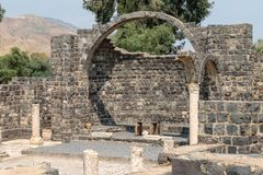 Ruins of Kursi - a large Byzantine 8th-century monastery in which Jesus Christ performed miracles on the shores of Lake Tiberias,. On the Golan Heights Royalty Free Stock Images