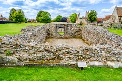 Ruins of Lady Chapel and Crypt at St Augustine's Abbey in Canter. Canterbury, Kent, UK: Ruins of Lady Chapel and Crypt part of St Augustine's Abbey stock photos