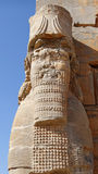 Ruins of a Lamassu Statue in Persepolis, Iran. The Lamassu Statue at the Eastern Entrance of The Gates of All Nations to Xerxes Palace in the Ruins Complex of Royalty Free Stock Photo