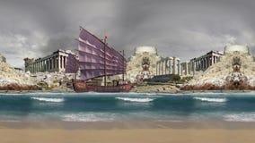 Ruins land and old ship at sea land at cloudy day stock video