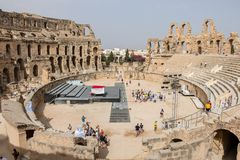 Ruins of the largest amphitheater in North Africa, El Jem, Tunisia stock photography
