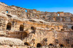 Ruins of the largest colosseum in in North Africa. El Jem,Tunisi Royalty Free Stock Photo