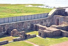 Fort Sumter: Officer`s Quarters & Powder Magazine. The ruins on the left are what remained after the powder magazine on the right side exploded during the attack Royalty Free Stock Photo