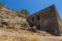 The ruins of the leper colony. The Spinalonga island. Royalty Free Stock Images