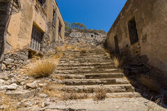 The ruins of the leper colony. The Spinalonga island. Royalty Free Stock Photography