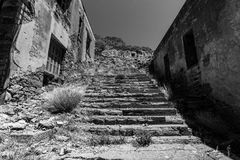 The ruins of the leper colony. The Spinalonga island. Stock Image