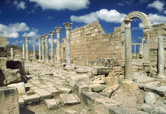 Ruins of Leptis Magna. Libya. Leptis Magna. South-east wall surrounded the Market and entrance to them via arched doorway royalty free stock images
