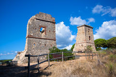 Ruins of the Les Torretes on the west of Calella Stock Photos