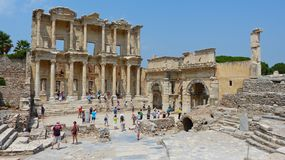 Ruins of the Library of Celsus in Ephesus Royalty Free Stock Images