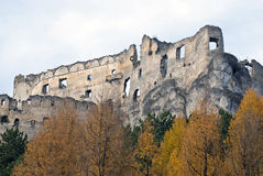 Ruins of Lietava castle with autumn trees Stock Photo