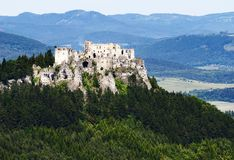 Ruins of lietava castle Stock Photos
