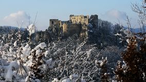 Ruins of Lietava castle in winter time, Slovakia Stock Photo