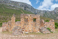 Ruins of the lieutenants quarters next to Chapmans Peak drive Royalty Free Stock Images