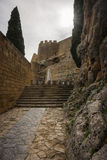 Ruins of Lindos castle on Rhodes island in Greece Stock Images