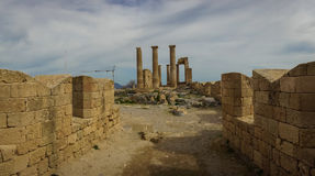 Ruins of Lindos castle on Rhodes island in Greece Royalty Free Stock Images