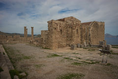 Ruins of Lindos castle on Rhodes island in Greece Royalty Free Stock Image