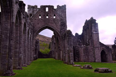 Ruins of Llanthony priory, Abergavenny, Monmouthshire, Wales, Uk. Llanthony Priory is a partly ruined former Augustinian priory in the secluded Vale of Ewyas, a Stock Photo