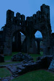 Ruins of Llanthony priory in twilight, Abergavenny, Monmouthshire, Wales, Uk Royalty Free Stock Photo