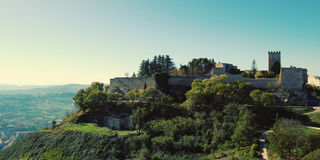 Ruins of Lombardy Castle - vintage effect. Tower and fortificati Royalty Free Stock Image