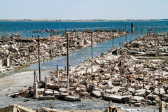 Ruins of the lost city of Epecuen in Argentina. Abandoned Stock Photo