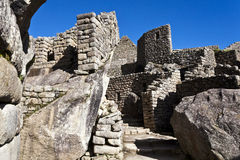 Ruins of the lost Inca city Machu Picchu in Peru - South America. Ruins of the lost Inca city Machu Picchu in the Andes in Peru - South America Royalty Free Stock Photo