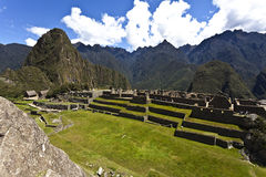 Ruins of the lost Inca city Machu Picchu in Peru - South America. Ruins of the lost Inca city Machu Picchu in the Andes in Peru - South America stock images