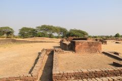 The ruins at Lothal. Lothal is one of the most prominent cities of the ancient Indus valley civilization,[located in the Bhāl region of the modern state of Royalty Free Stock Image