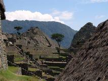 Ruins at Machu Picchu. View at restored ruins at Machu Picchu Stock Photos