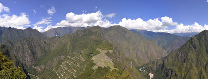Ruins of Machu Picchu from Huayna Picchu Stock Photos