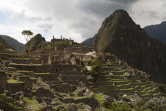 Ruins of Machu Picchu and Whine Picchu Royalty Free Stock Images