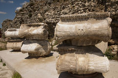 The ruins  of Magnesia ad Maeandrum,Aegean region of Turkey. Decorative elements demonstrate a wealth of formal designs of geometric scrolls and foliate motifs Stock Image
