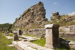 The ruins of Magnesia ad Maeandrum,Aegean region of Turkey. The ruins of Propylaea of Magnesia can be seen on photo.The city was a ancient greek city in Ionia stock photography