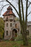Ruins of the manor in the old village. Destroyed building of an. Old beautiful building in Central Europe. Season of the autumn royalty free stock images
