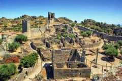 Ruins of Marialva historical village in Meda stock photo