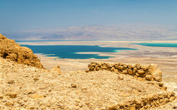 Ruins of Masada fortress and Dead Sea Stock Photography