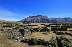 The ruins of Maukallacta on the mountain over Puica. The pre-inca ruins of Maukallacta on the mountain over Puica a peruvian mountain village over the cliffs of Stock Photo