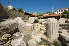 Ruins of the Mausoleum of Mausolus, one of the Seven wonders of the ancient world in Bodrum, Turkey. View to the ruins of the Mausoleum of Mausolus, one of the stock photo