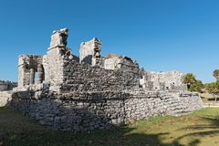 Ruins of the mayan city tulum, quintana roo, mexico.  Royalty Free Stock Photography